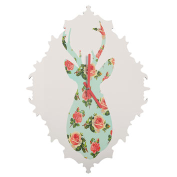 Allyson Johnson Floral Deer Silhouette Baroque Clock