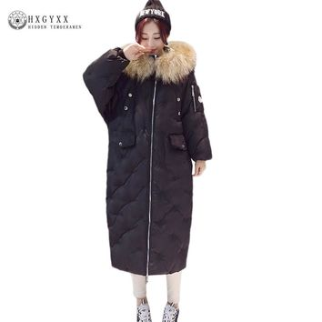 X-Long Real Fur Hooded Winter Women Quiled Coat 2017 Thicken Warm Puffer Jacket Female Plus Size Outerwear Ladies Parka Oka641