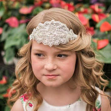 Josephine White Crystal Jewel Headband