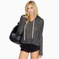 Black Long Sleeve Hooded Knitted Sweater