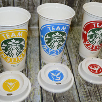 Pokémon Go Team Mystic, Team Instinct, Team Valor on a Genuine Reusable Starbucks Coffee Cup, Mug, Tumbler [personalized pokemon gift idea]