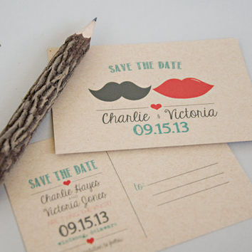 Save the Date Postcard DEPOSIT - Printable, DIY, Mustache Lips, Vintage, Rustic, Art Deco, Hipster, Modern, Kraft, Cute (Wedding Design #8)