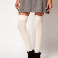 ASOS Wool Cable Over The Knee Sock at asos.com