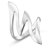 MIMI Sterling Silver Large 34 MM Modern Style Zigzag Wave Ring Size 5, 6, 7, 8, 9, 10, 11