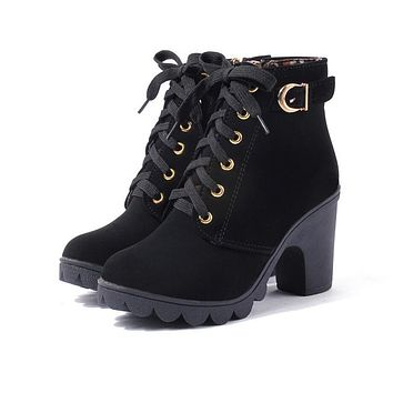 AREQW Women's Fashion Genuine Leather Laced-Up Ankle Boots
