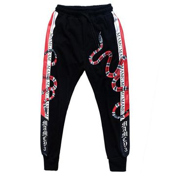 GUCCI Hot Sale Women Men Casual Snake Print Sport Pants Trousers Sweatpants