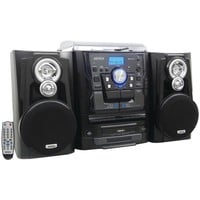 Jensen Bluetooth 3-speed Stereo Turntable Music System With 3-cd Changer & Dual Cassette Deck