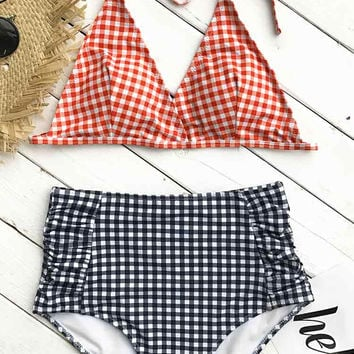 Cupshe Find Yourself Plaid Halter Bikini Set