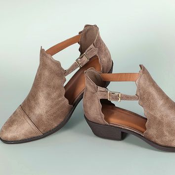 Qupid Nubuck Scallop Trim Cutout Almond Toe Ankle Booties