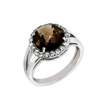 Smoky Quartz And White Topaz Halo Ring in Sterling Silver