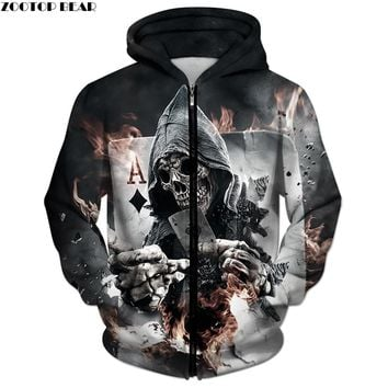 3D Zip Hoodies Skull Poker Hoodie Men Women Sweatshirt Brand Tracksuits Quality Plus Size Streetwear Drop Ship Hoody ZOOTOP BEAR