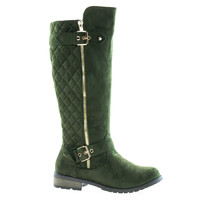 Mango23 Olive Green By Forever, calf high biker boots quilted panel stack heel threaded lug sole