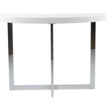Oliver Console Table in White with Chrome Base