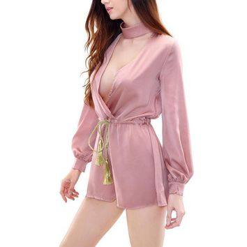 PEAPGB2 Sexy Solid Deep V Neck Low Cut Halter Playsuit Loose Tassel Drawsting Sashes Full Sleeved Women Playsuits