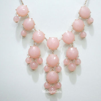 Free Shipping & Gift Wrapping, Bubble Necklace, Bubble Statement Necklace, Pink Bubble Necklace, J Crew Inspired, Pink,