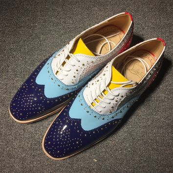 DCCK Christian Louboutin Brogue shoes CL fashion casual shoes red sole for men and women jeans 9057