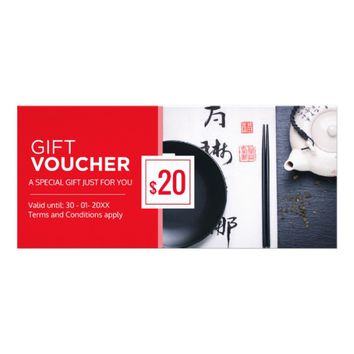 Modern red black restaurant gift voucher template rack card