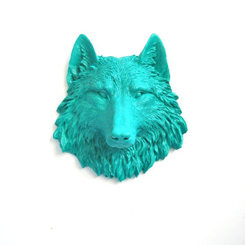 Small Faux Taxidermy Wolf Animal Head wall mount hanging home decor in teal