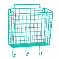 Blue Metal Mesh Basket Wall Hook