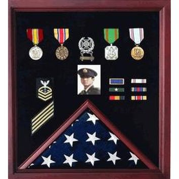 4 x 6 Flag Display Case Combination For Medals and Photos Hand Made By Veterans
