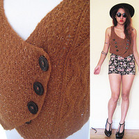 Vintage brown knit hippie bohemian boho cropped vest