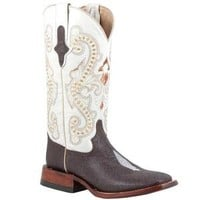 Ferrini Ladies Chocolate Stingray Print in Cowboy Boots / Ropers