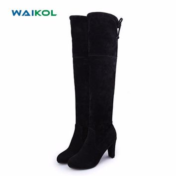 Waikol Women Boots Sexy Overknee High Heels Faux Suede Chunky Thigh High Boots Stretch Over the Knee Boots Woman Shoes Plus Size