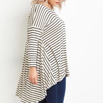 Plus Size Striped Trapeze Top