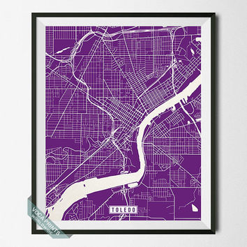 Toledo Print, Ohio Poster, Toledo Poster, Toledo Map, Ohio Print, Street Map, Ohio Map, Office Decor, Map Prints, Wall Art