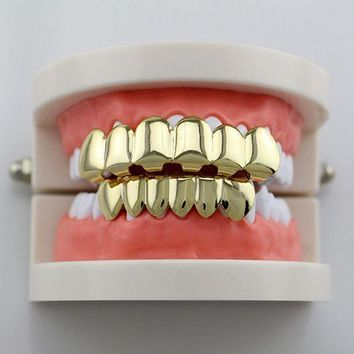 PEAPGC3 GENBOLI Teeth Grillz Smooth Plane Teeth Braces Top & Bottom Teeth Grillz Body Jewelry Halloween Party Gift Hip hop hot sales