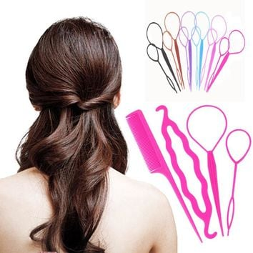 Fashion 4Pcs/Set Colorful Plastic DIY Styling Tools Pull Hair Clips Women Hairpins Comb Hair Bun Maker Twist