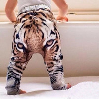 New to the Baby Pants For 2015 Autumn New Arrival Clothing Fashion 3D Printing Tiger Head Cool Kids Boys Girls Harem Pants