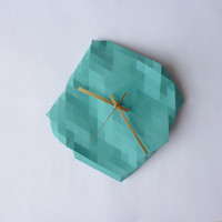 Faceted Wall Clock by RawDezign on Etsy