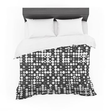 "Nandita Singh ""White & Black Funny Polka Dots "" Black Abstract Featherweight Duvet Cover"