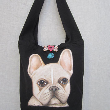 French Bulldog handbag, Dog Lovers, Pet Bag, Shoulder Bag, Gift item, Dog Art, Puppy Bag, Canvas bag,Travel bag