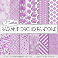 "Lavender digital paper ""RADIANT ORCHID PANTONE"" backgrounds, geometric designs, bokeh, floral, spring color for scrapbooking, photographers"