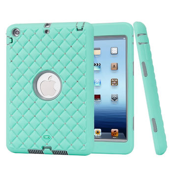For iPad mini 1/2/3 Retina Case Bling Rhinestone Kids Safe Shockproof Heavy Duty Silicone Hard Case Cover w/Screen Protector+Pen