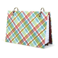 Handmade plaid pink, blue and green index card laminated binder 372