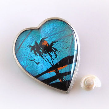 Vintage Butterfly Wing Brooch - Real Butterfly Wing Pin - Blue Morpho Butterfly Wing Jewelry - Hawaiian Jewelry - Silver Heart Brooch