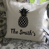 Welcome Pineapple Toss Pillow Cover ~ Perfect for the front porch or housewarming gift!
