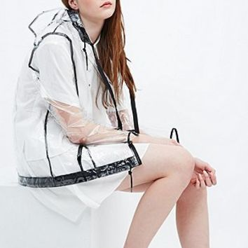 BDG Clear A-Line Rain Mac in Black - Urban Outfitters
