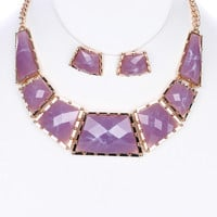 Glass Stone Earring & Necklace Set