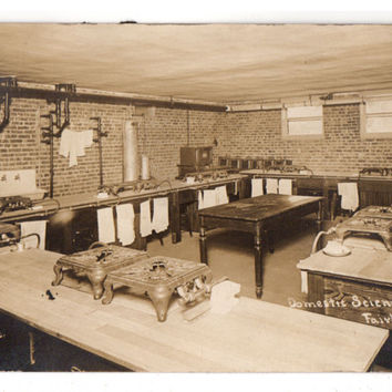 Vintage 1910s High School Kitchen Interior Stoves Real Photo Postcard Fairbury Nebraska RPPC