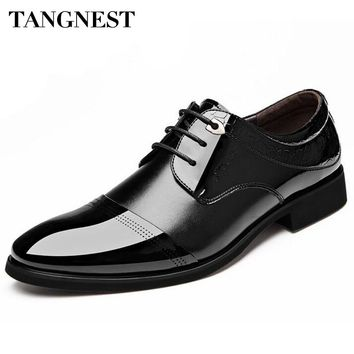 Tangnest 2017 Autumn New Men Business Shoes Man Fashion Microfiber Shoes Lace Up Pointed Toe Dress Wedding Flats For Male XMP611