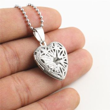 1pcs 22x19mm Brass Magic Locket,Fragrance Oil Aromatherapy Diffuser, 27.5 inch Long Stainless Steel Pendant Necklace N7-21