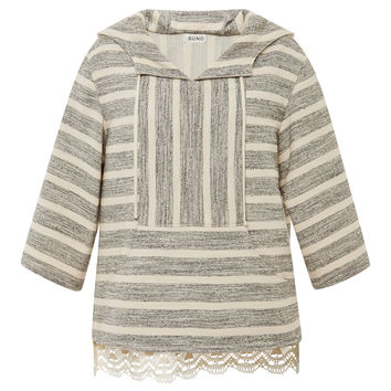 Black And Tan Stripe Baja Pullover