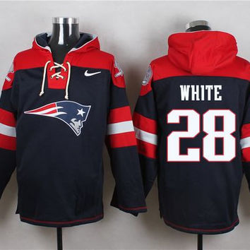 New England Patriots #28 James White Navy Blue Pullover Hoodie