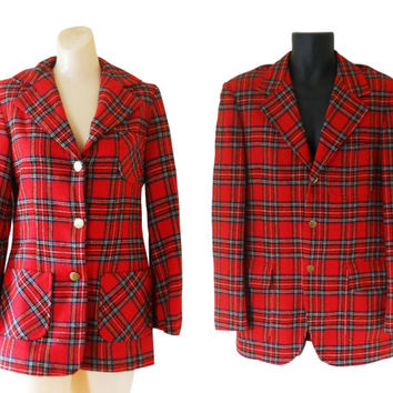 His and Her Christmas Red Tartan Plaid Blazer Women Red Blazer Plaid Sport Coat Men Sport Jacket Men Red Blazer Ugly Christmas Blazer 70s
