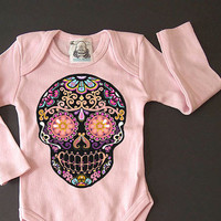 Long Sleeve Skull baby clothes Day of the Dead Rockabilly Shower gift girl Hipster Bodysuit Fall Baby grows romper shirt 3 6 9 12 month