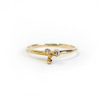 Tiny Bead Ring with Diamonds